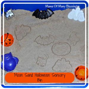 Halloween Sensory Bin ~ DIY Moon Sand