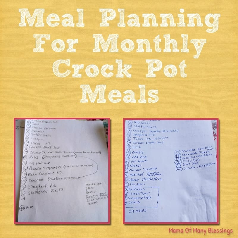 Crock Pot Meal Planning Series