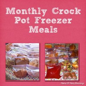 Monthly Freezer Crock Pot Meals