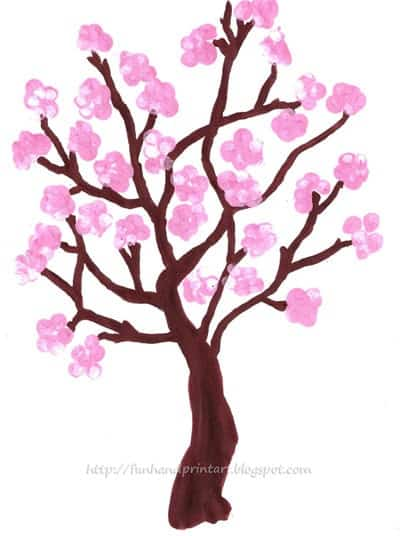 fingerprint-spring-cherry-blossom-tree-kids-craft