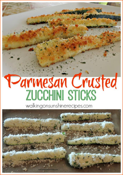 Parmesan Crusted Zucchini Sticks from Walking on Sunshine Recipes