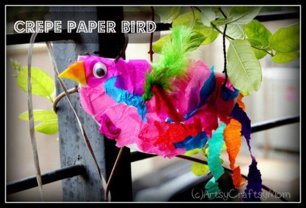 Crepe-paper-bird-craft-Kids-Craft-ideas