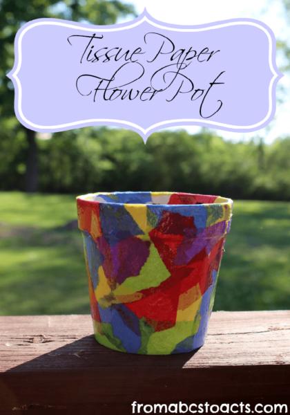 -Kids-Craft-ideas-Tissue-Paper-Flower-Pot-Craft