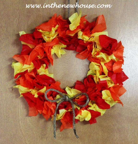 DIY-Tissue-Paper-Fall-Wreath-kids-craft-ideas-for-fall