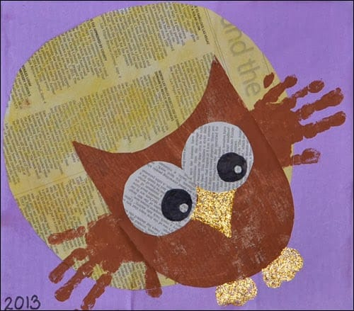 Handprint-Owl-Newspaper-Art-kids-craft-ideas-for-fall
