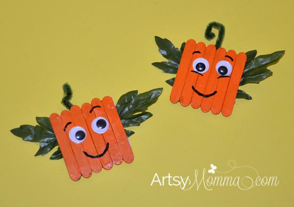 Mini-Craft-Stick-Pumpkin-Magnets-kids-craft-ideas-for-fall