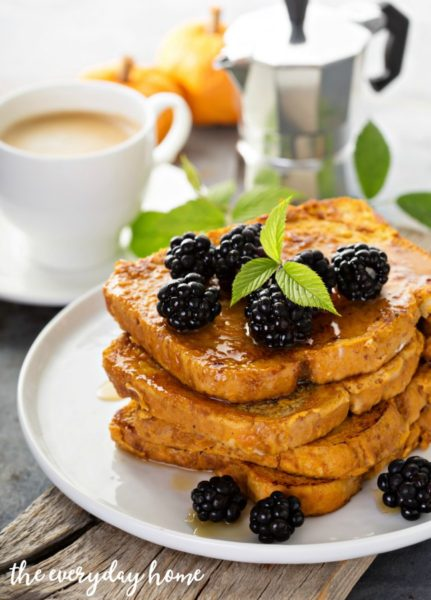 Pumpkin french toast with berries and maple syrup for breakfast-Pumpkin-Recipes
