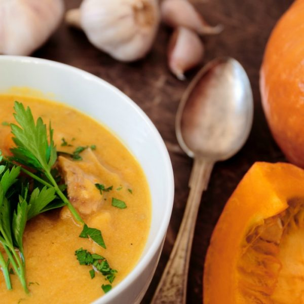 Pumpkin soup with green parsley and pork meat-Pumpkin-Recipes