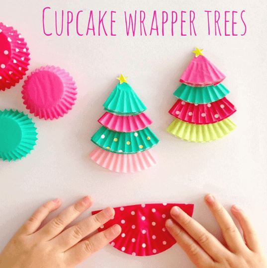 cupcake-liner-christmas-tree-kids-crafts-Kids-Craft-Ideas-For-Christmas