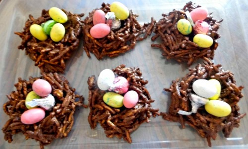 Chocolate Easter Nests with candy eggs