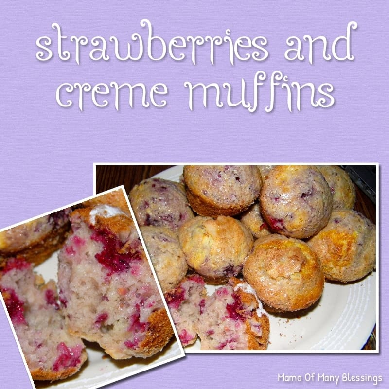 Healthy Breakfast Strawberries and creme Muffins