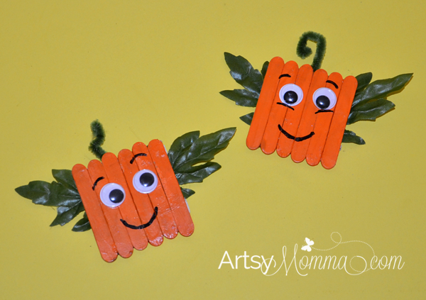 Mini-Craft-Stick-Pumpkin-Magnets-kids-craft-ideas-for-fall