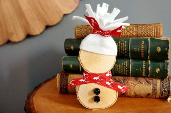 diy-wood-slice-snowman-Kids-Craft-Ideas-For-Christmas