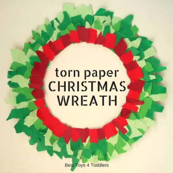 crafting-christmas-wreath-from-torn-paper-scraps-Kids-Craft-Ideas-For-Christmas