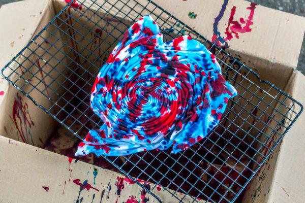 fun painting pattern on tie-dye t-shirt
