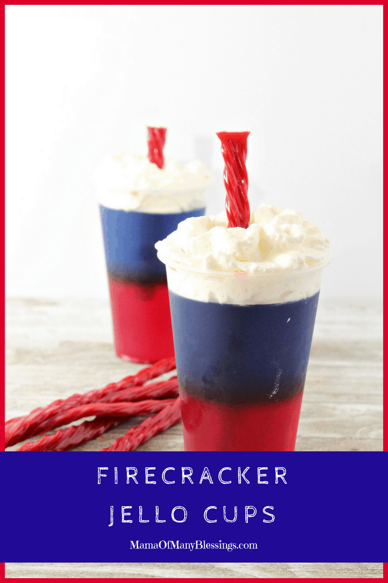 These firecracker Jell-O cups are a perfect way to not have to worry about heating the house up but still make a delicious and festive red white and blue dessert for your 4th of July parties. Not only that but they are super easy to make be the hit of our parties! #redwhiteandbluedesserts #4thofjuly #recipes