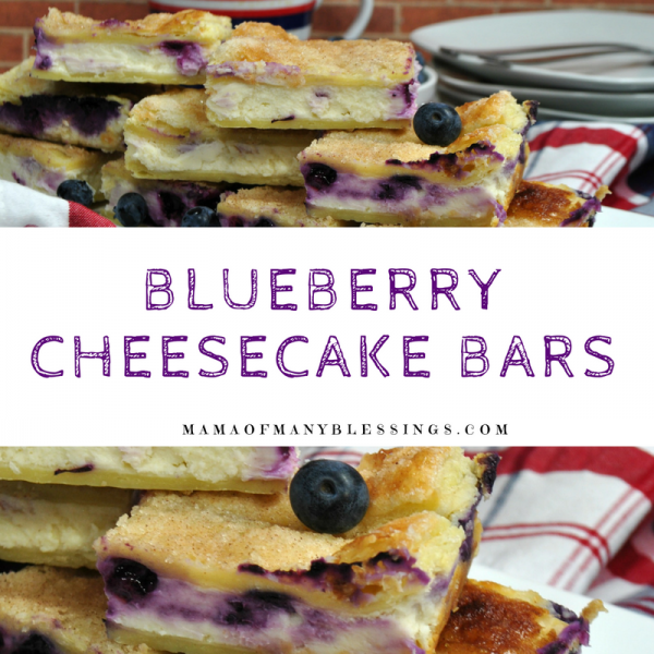 Blueberry Cheesecake Bars Square