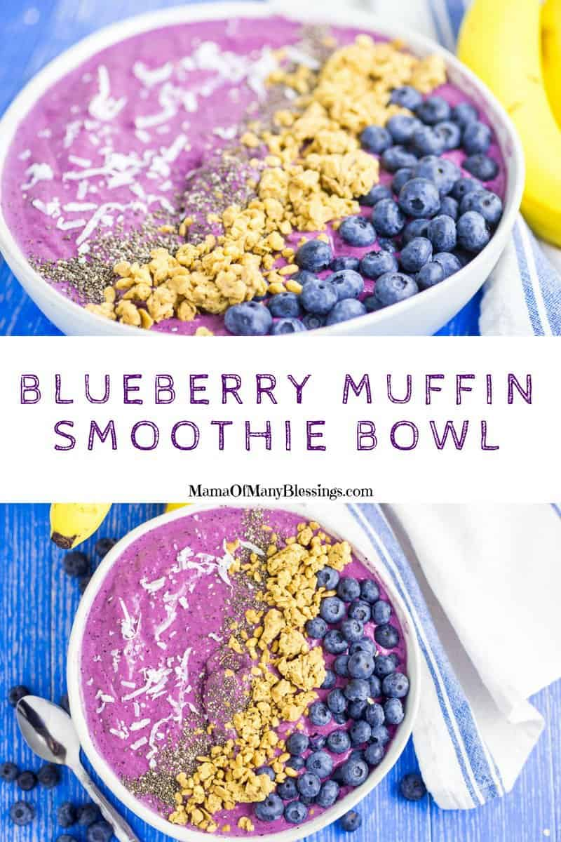 Not only does this blueberry muffin smoothie bowl look amazing they taste totally delicious and are so easy to make. Perfect for those busy mornings! #food #recipes #smoothiebowls #breakfast