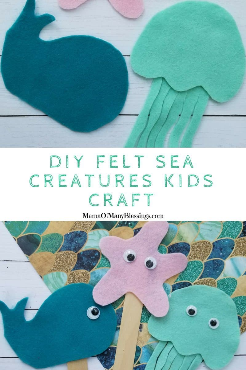 With this fun DIY Felt Sea Creatures Craft For Kids, your child can create their own sea creature to call their very own!   #kidscraft #oceancraft #craftidea