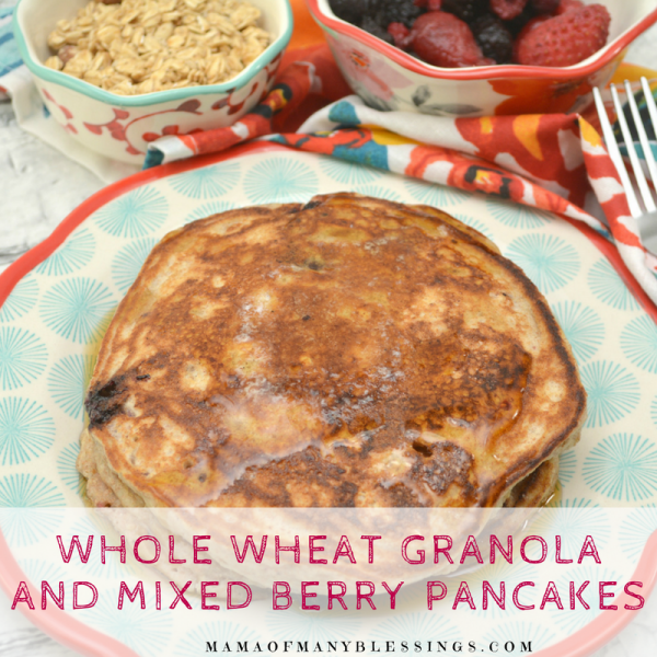 Whole Wheat Granola and Mixed Berry Pancakes Square