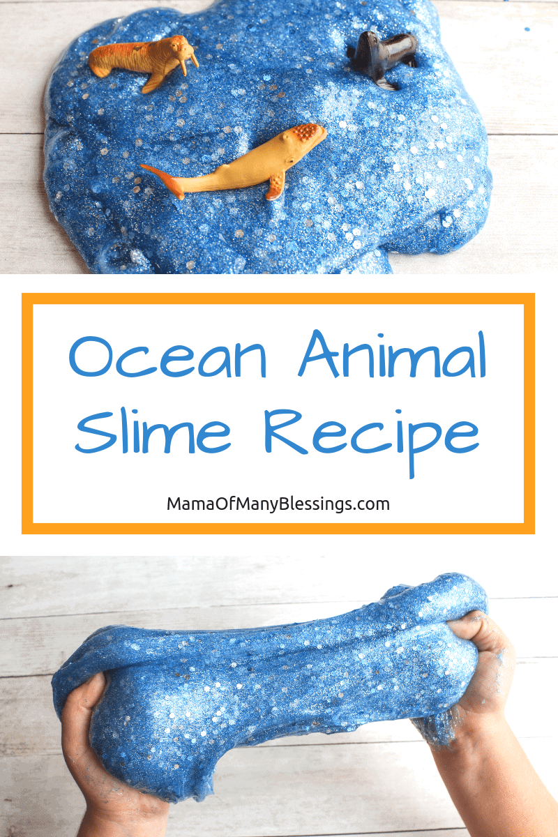 Slime is an all-time favorite in our house. The younger kids all the way up through the adults love it. Here is our favorite recipe to use with starch!  #slime #sensoryideas #oceananimals