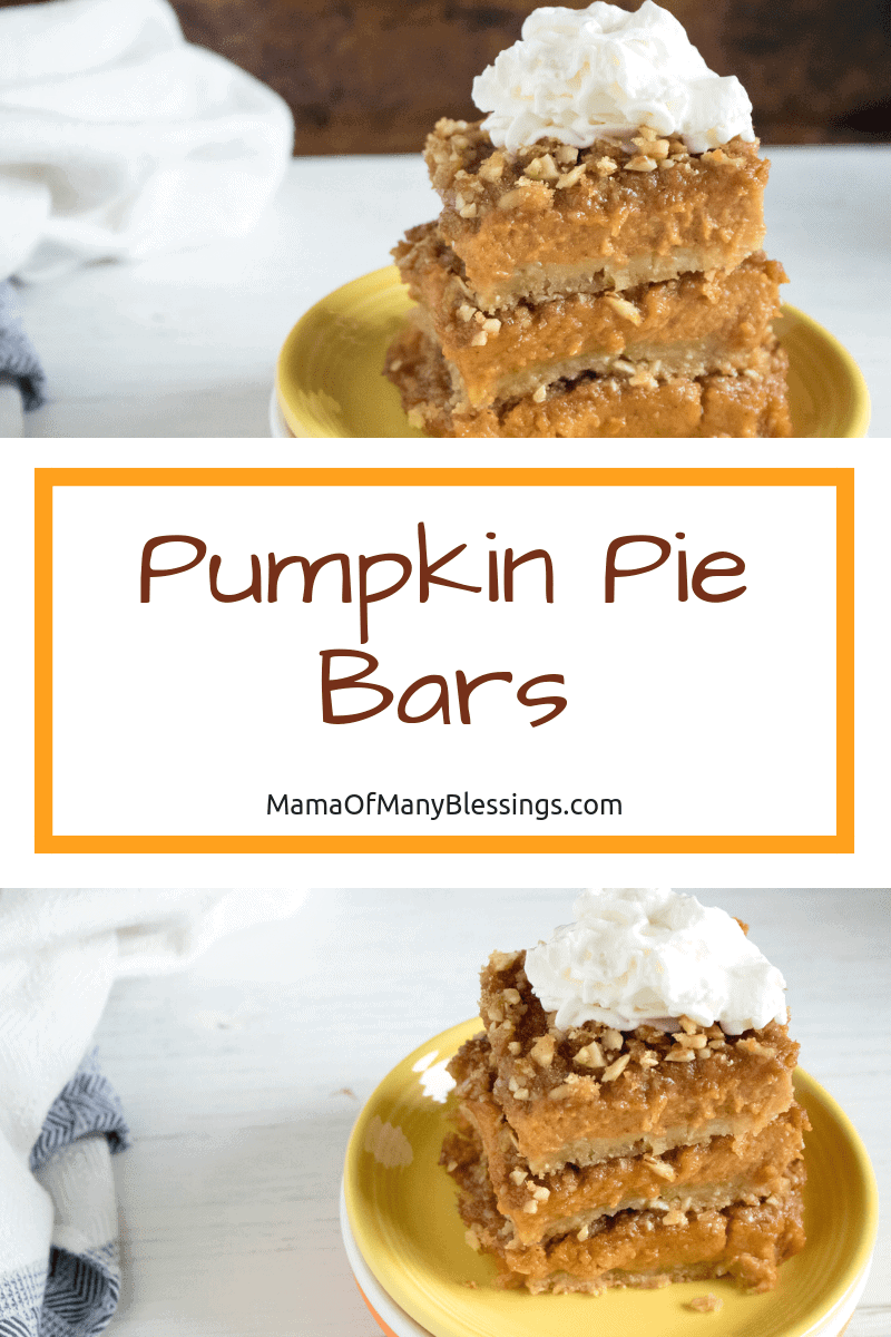 These Pumpkin Pie Bars will be your go-to Fall treat the second that you taste them. Easy and delicious, your taste buds will be on cloud 9!  #pumpkin #fallrecipes #recipes #food