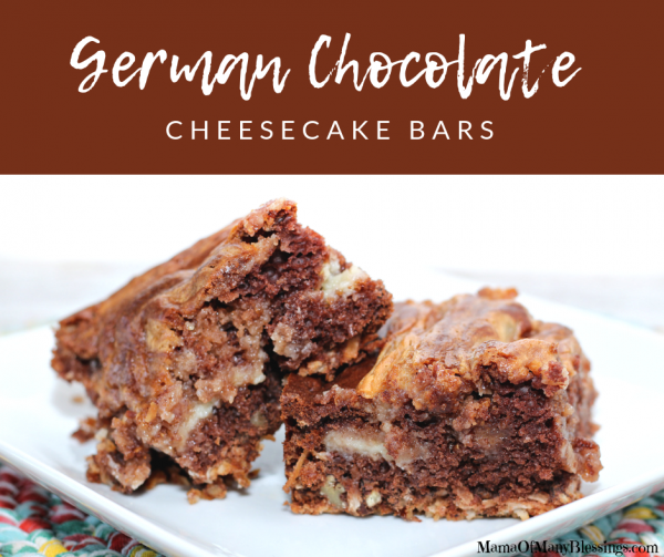 Easy German Chocolate Cheesecake Bars