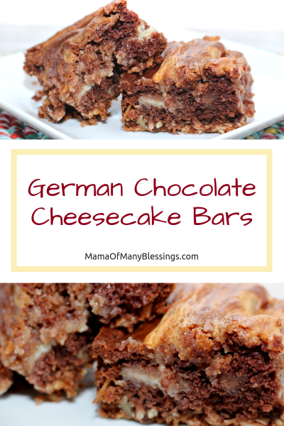 German Chocolate Cheesecake Bars Pinterest