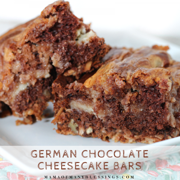 German Chocolate Cheesecake Bars Square